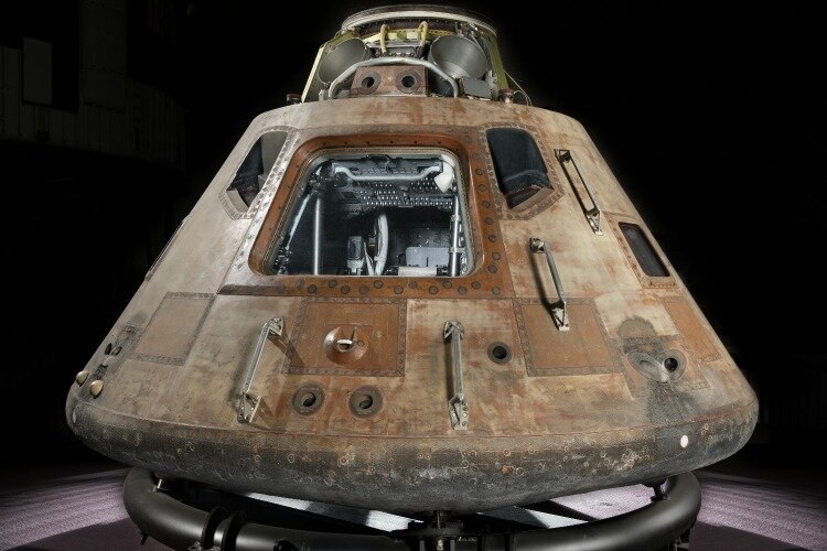 The Apollo 11 command module, Columbia, weighs 13,000 pounds.