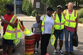 "Latasha White, Pamela Woods, and Steve Rodenberg at one of the Dumping Committee's ""Hike and Clean"" days in Millvale."