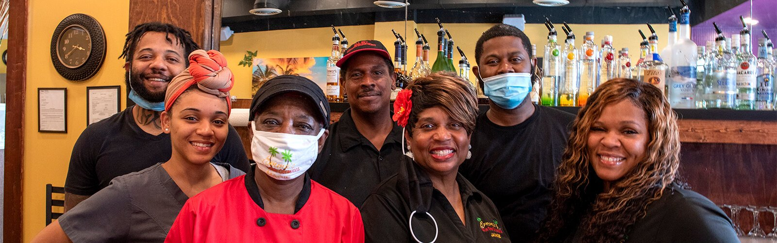 Emma's Soul Food is a family business. From left to right: Monsanna Torbert, Jatonia Torbert, Marie Crawford, Gary Williams, Janice Howard, Montez Williams, Latosha Williams.