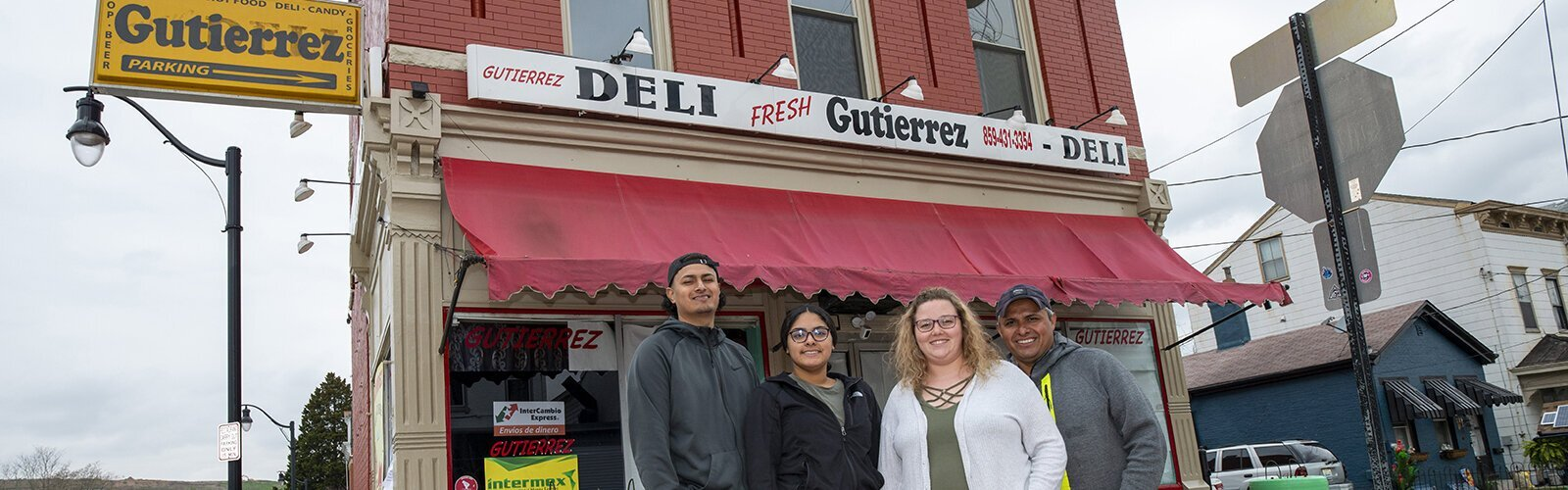 Gutierrez Deli has become a gathering place and resource for Covington's Latino residents. The Gutierrez family: Sergio, Evelyn, Courtney Case, and Claudio.