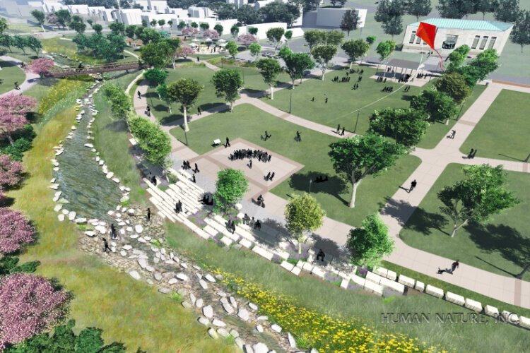 A rendering of the new greenspace in South Fairmount