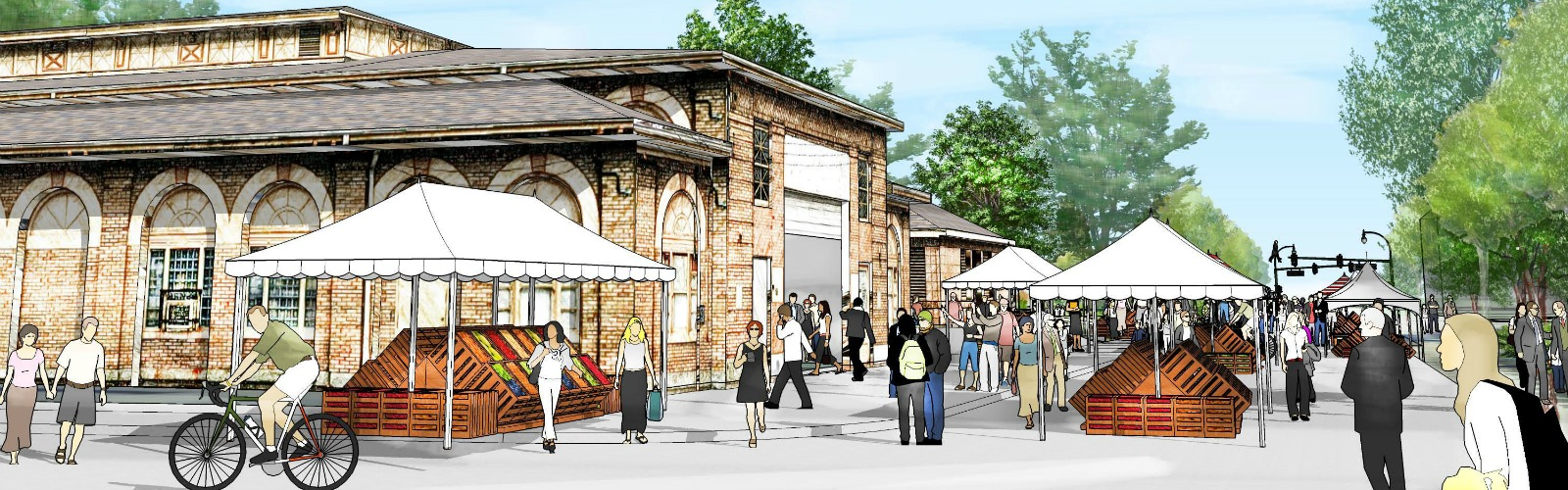 Rendering of a community market in Victory Park