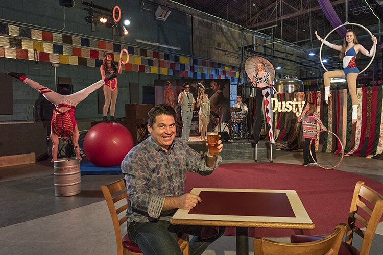 At Bircus Brewing Company in the Ludlow Theatre, circus performers entertain guests.