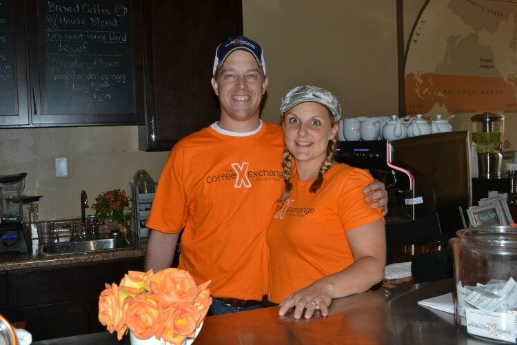 Coffee Exchange owners Sarah Peters and her husband, Joe, in their former location.