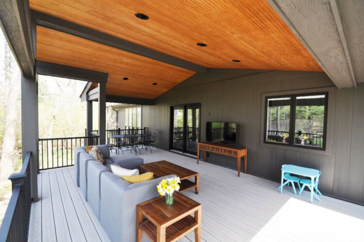 A covered deck designed by SKL Architecture.