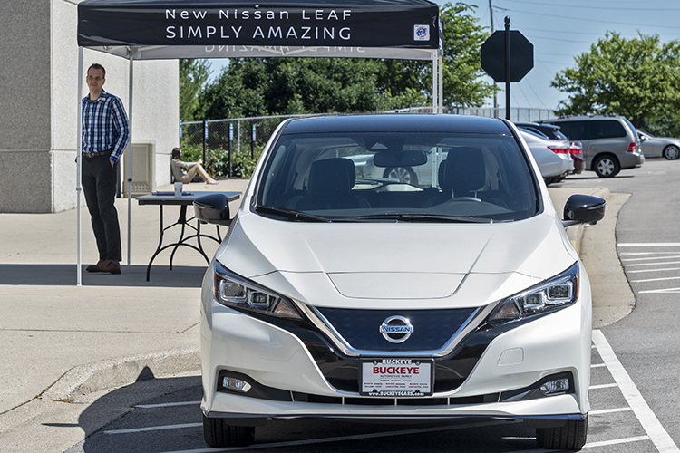Nissan offered opportunities to ride in or drive electric vehicles.
