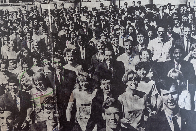 Susan (bottom left) at the 1964 Beatles concert.