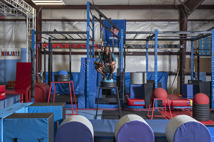 James Wilson, who has participated in the challenge many times, at his Nati Ninja Obstacle Course and Training Center in Blue Ash.