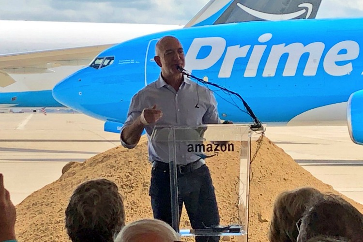 Amazon CEO Jeff Bezos was present at last week's groundbreaking at CVG.