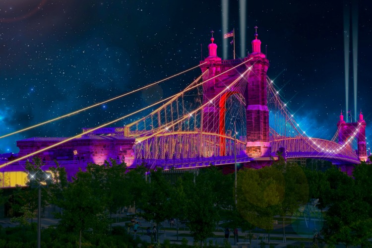 A concept of what the Roebling Suspension Bridge will look like during BLINK.