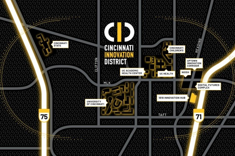 A proposed map of the new Cincinnati Innovation District.