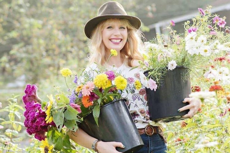 Christina Matthews, owner of The Flower Lady LLC., also volunteers in the People's Garden.