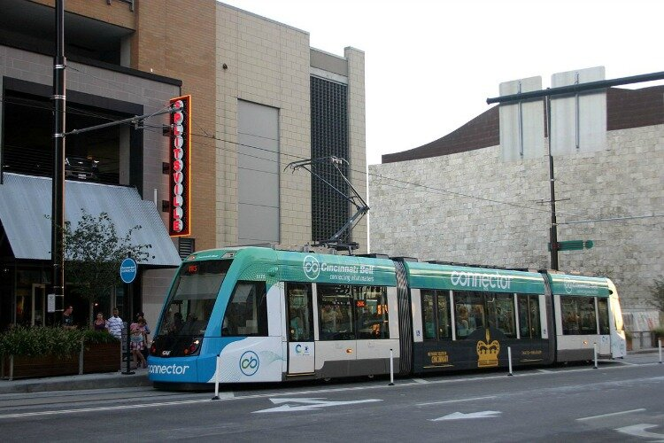 The streetcar is one of Cincinnati's environmentally friendly forms of transportation.