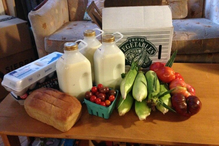 The author's weekly farm delivery box