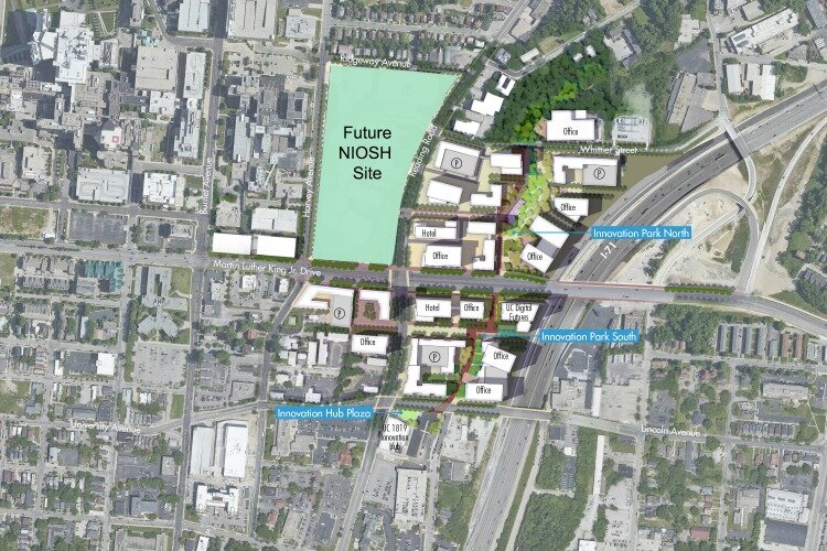 The NIOSH site will sit on 14 acres in the northwest quadrant of the Uptown Innovation Corridor.