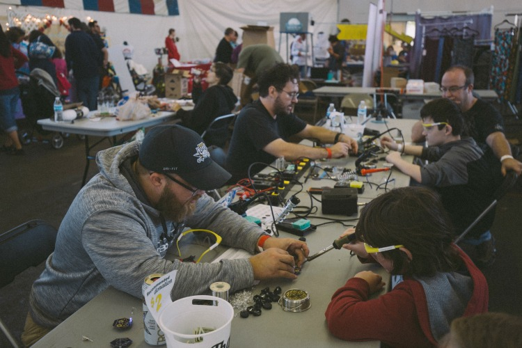 A soldering workshop at the last Faire held at Union Terminal.