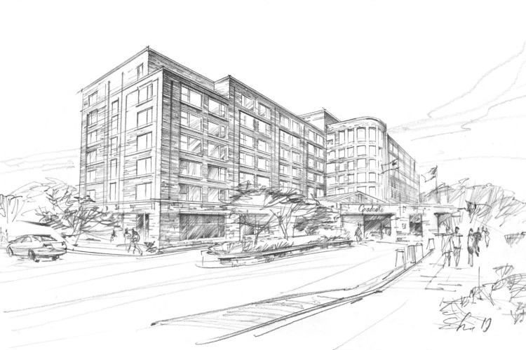 A rendering of the former Kingsgate Marriott that will convert to a Graduate property.
