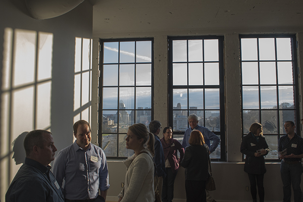 Huge windows provide panoramic views of downtown and Eden Park.