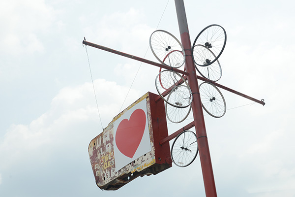 Sean Mullaney erected a pro-bike sculpture outside his Central Parkway building