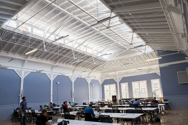 The old beer hall upstairs is an architectural highlight of Union Hall's renovation