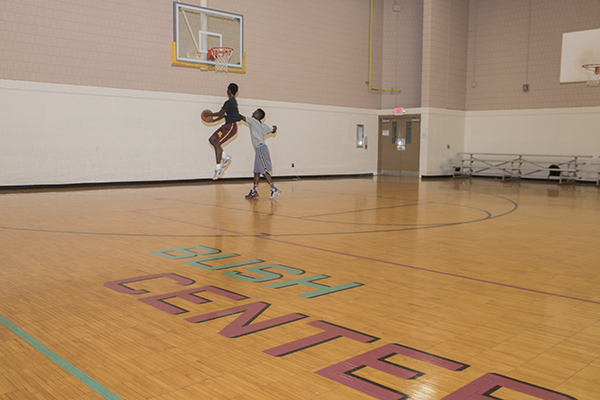 Children play on the basketball courts at Bush Rec Center.