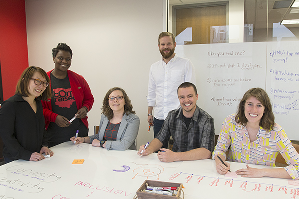 Design Impact team members (L-R) Caitlin Behle, Tamaya Dennard, Brittney Kreimer, Ramsey Ford, Geoff Zoeckler and Bizzy Young