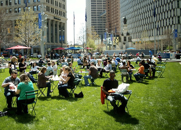 Campus Martius park is a central gathering place in downtown Detroit.