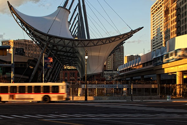 The new Detroit streetcar will connect through the Rosa Parks Transit Center.