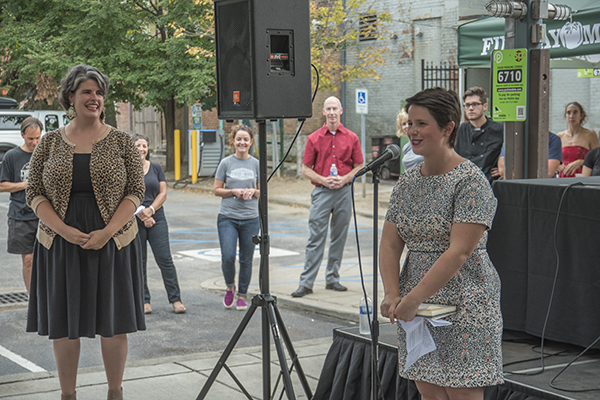 Emcees Kelly Trush and Caitlin Steininger help create conversations around food.