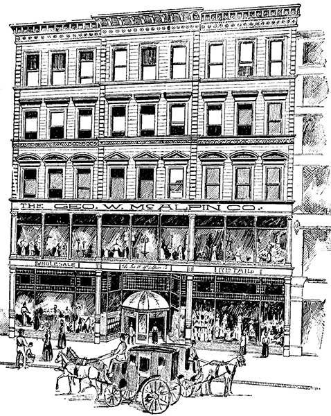 Historic drawing of the George W. McAlpin Company on W. 4th St.