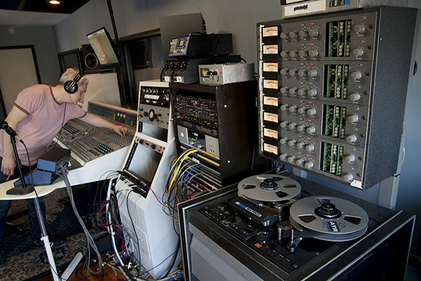 Sound engineers work at The Lodge in Dayton, KY.