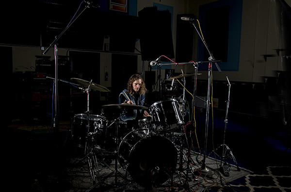 James Leg recording at The Lodge's in-house studio.