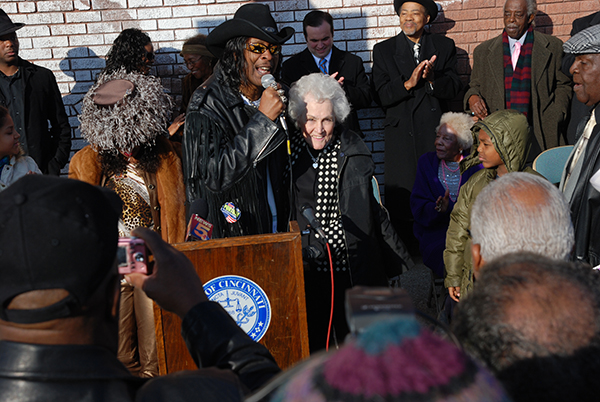 Funk legend Bootsy Collins with King Records founder Syd Nathan's widow at commemorative ceremony.