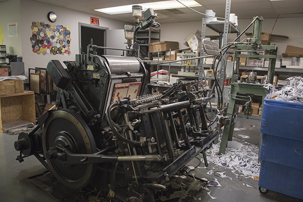 The Heidelberg die-cut press prepares record labels.