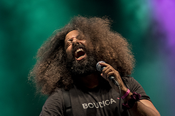 Reggie Watts performing at MidPoint Music Festival.