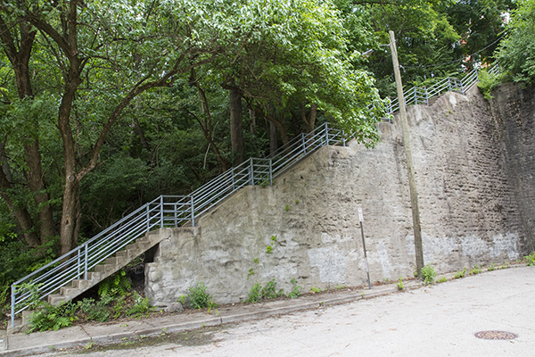 Gage Street steps heading up into Mt. Auburn