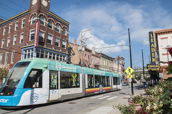 The Cincinnati Connector streetcar runs along Findlay Market.