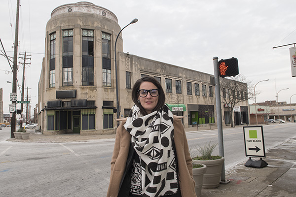 WHRF's Thea Munchel at the Paramount Building at the corner of Gilbert and W. McMillan avenues.