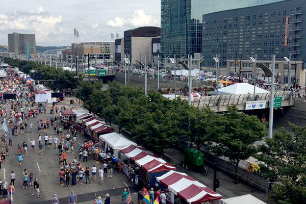 This year's Oktoberfest moved to an area between Second and Third streets between Walnut and Elm.