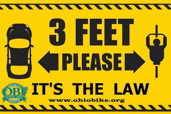 A new state law requires Ohio drivers to give cyclists three feet of clearance when passing.