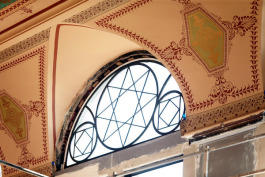"Historical renovators have recreated Victorian window ""tracery"" from Hannaford's original design plans."
