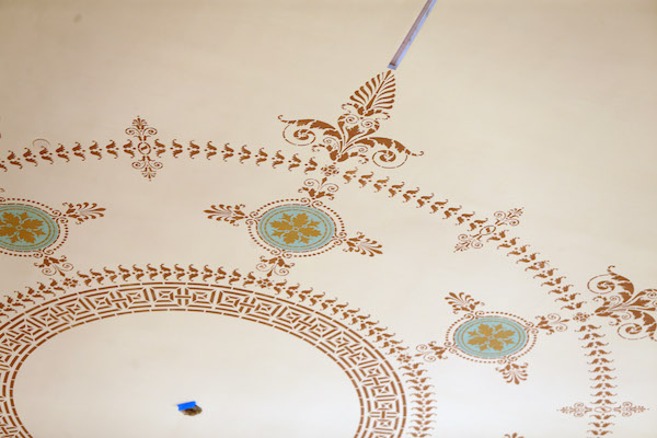 A 1970s drop ceiling in Corbett Tower was removed and original ceiling design recreated.