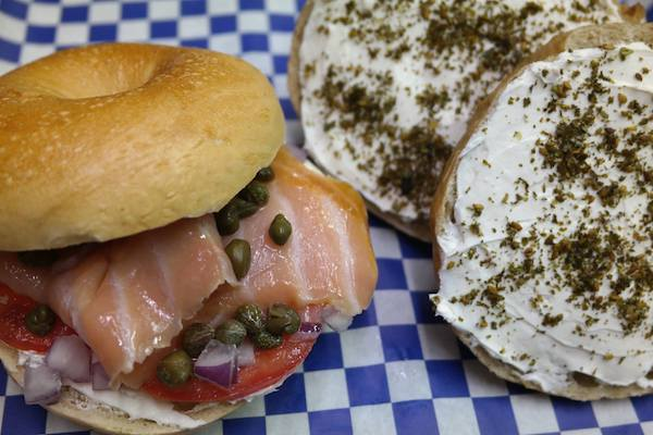 Findlay Market is also home to places like Dean's Mediterranean Imports. Pictured: bagels and lox.