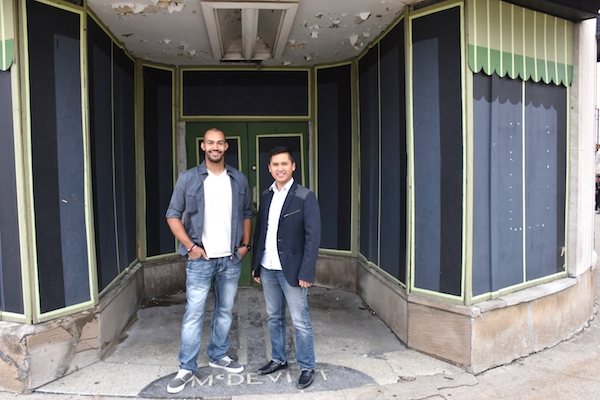 Business partners Brian Jackson (left) and Marvin Abrinica will open Esoteric Brewing in the Paramount Building next year.