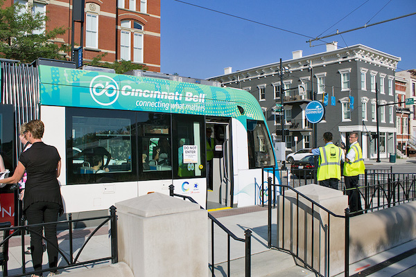 Cincinnati's streetcar operates on a 3.6-mile loop and features 18 distinct stops.