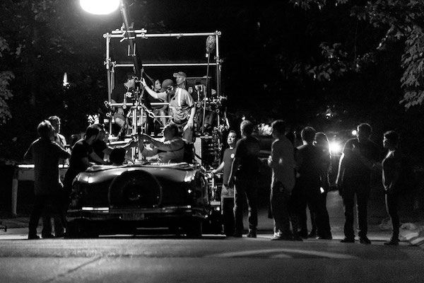 """A Kind of Murder"" crew films at night."