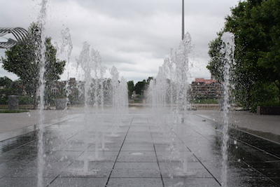 One of the highlights of the Ohio River Trail at the Banks is the interactive fountain.