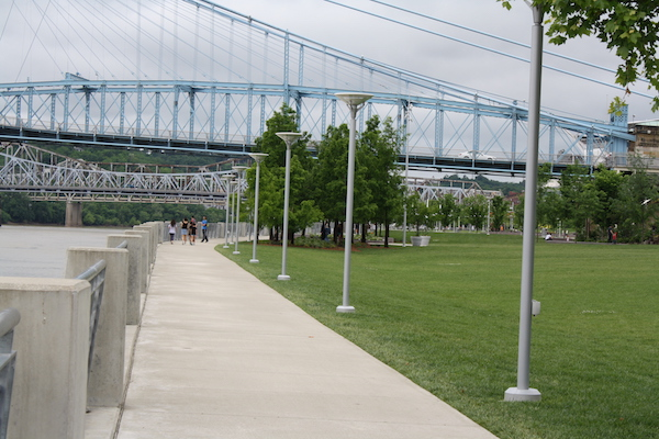 The Ohio River Trail is in the shadow of every bridge that connects downtown to NKY.