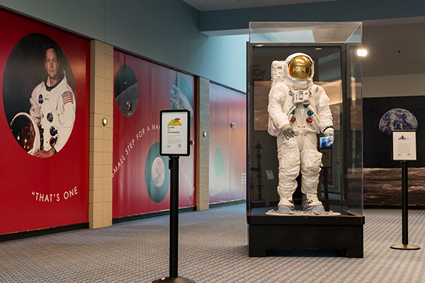 Neil Armstrong's spacesuit is among artifacts temporarily displayed amid Museum Center restorations.