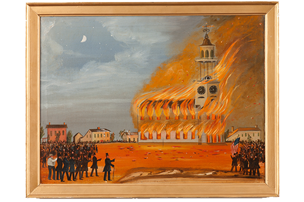 Burning the Old South Church (c. 1854), attributed to John Hilling, oil on canvas.